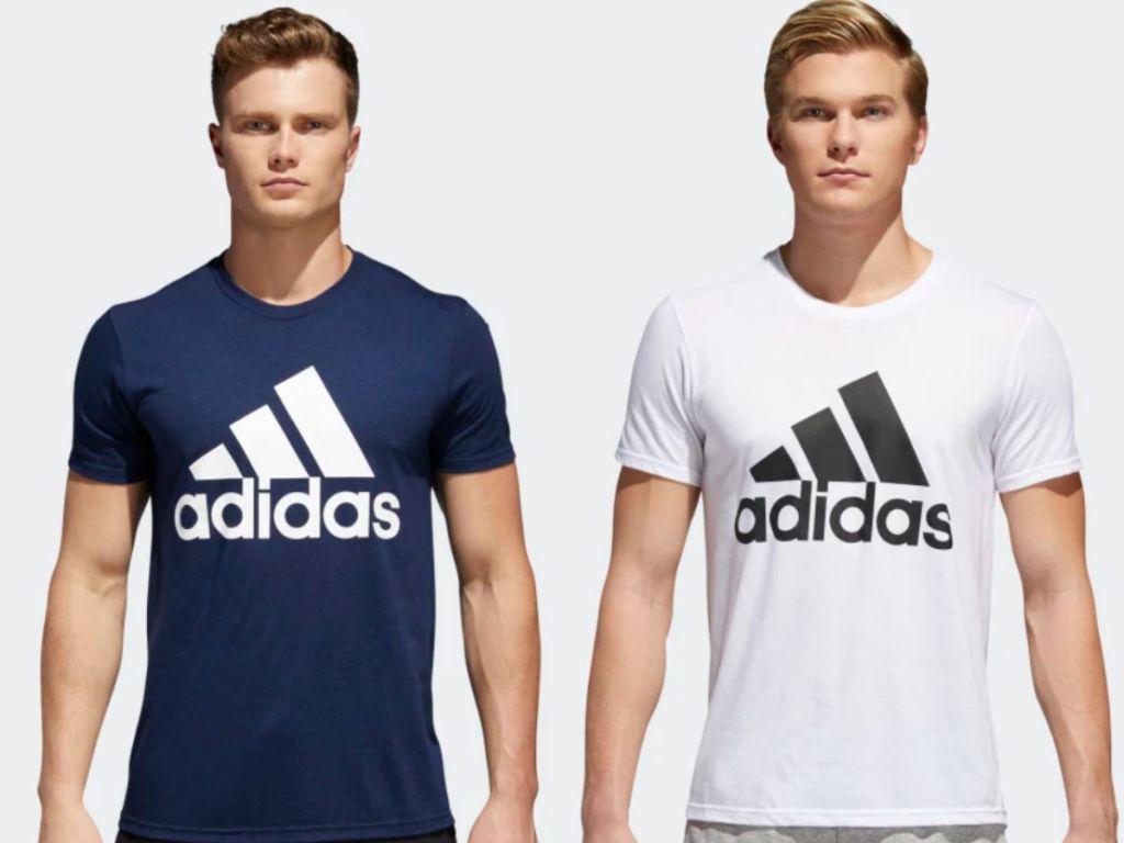 men wearing navy and white adidas badge of sport tshirt