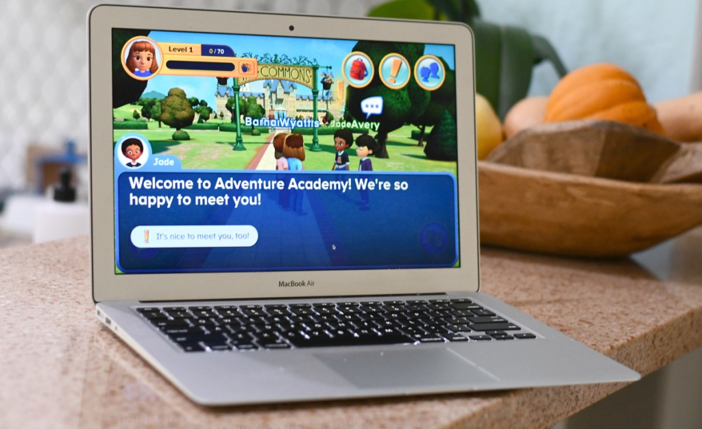 Adventure Academy game on laptop
