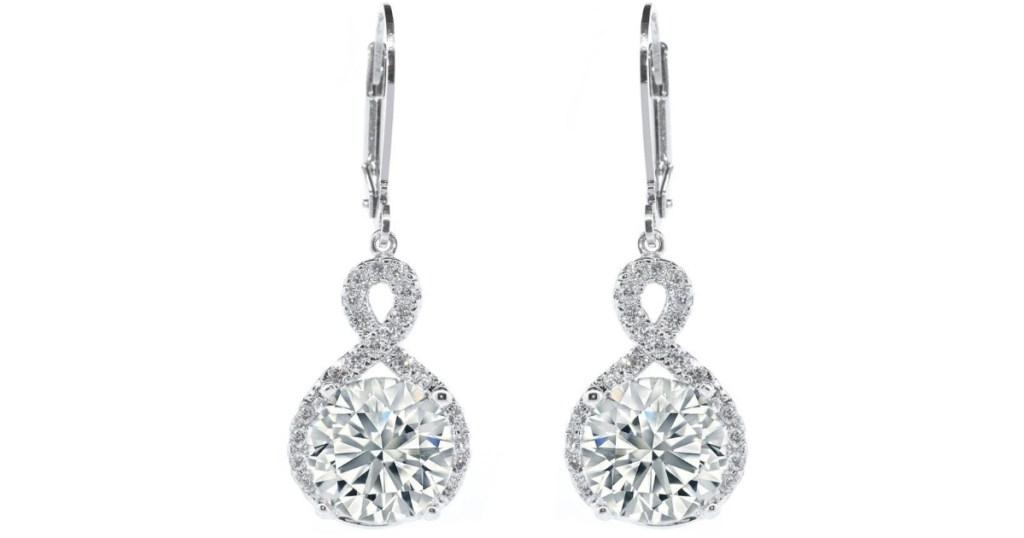 cate & chloe 18k gold round cut halo drop earrings