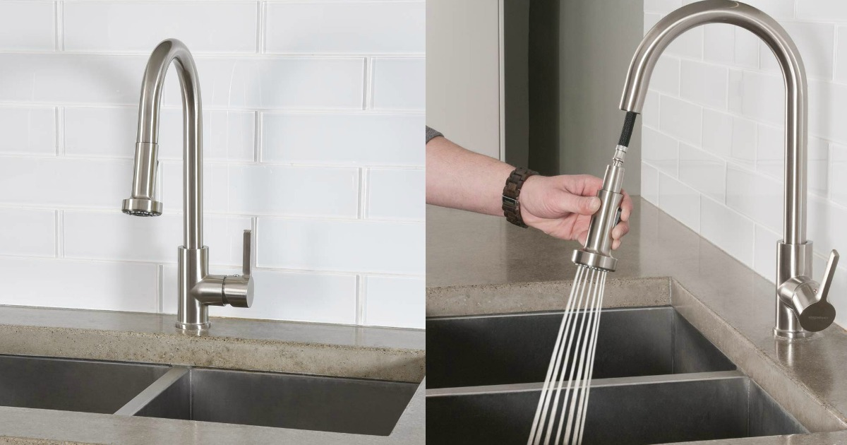 side by side images of kitchen faucets