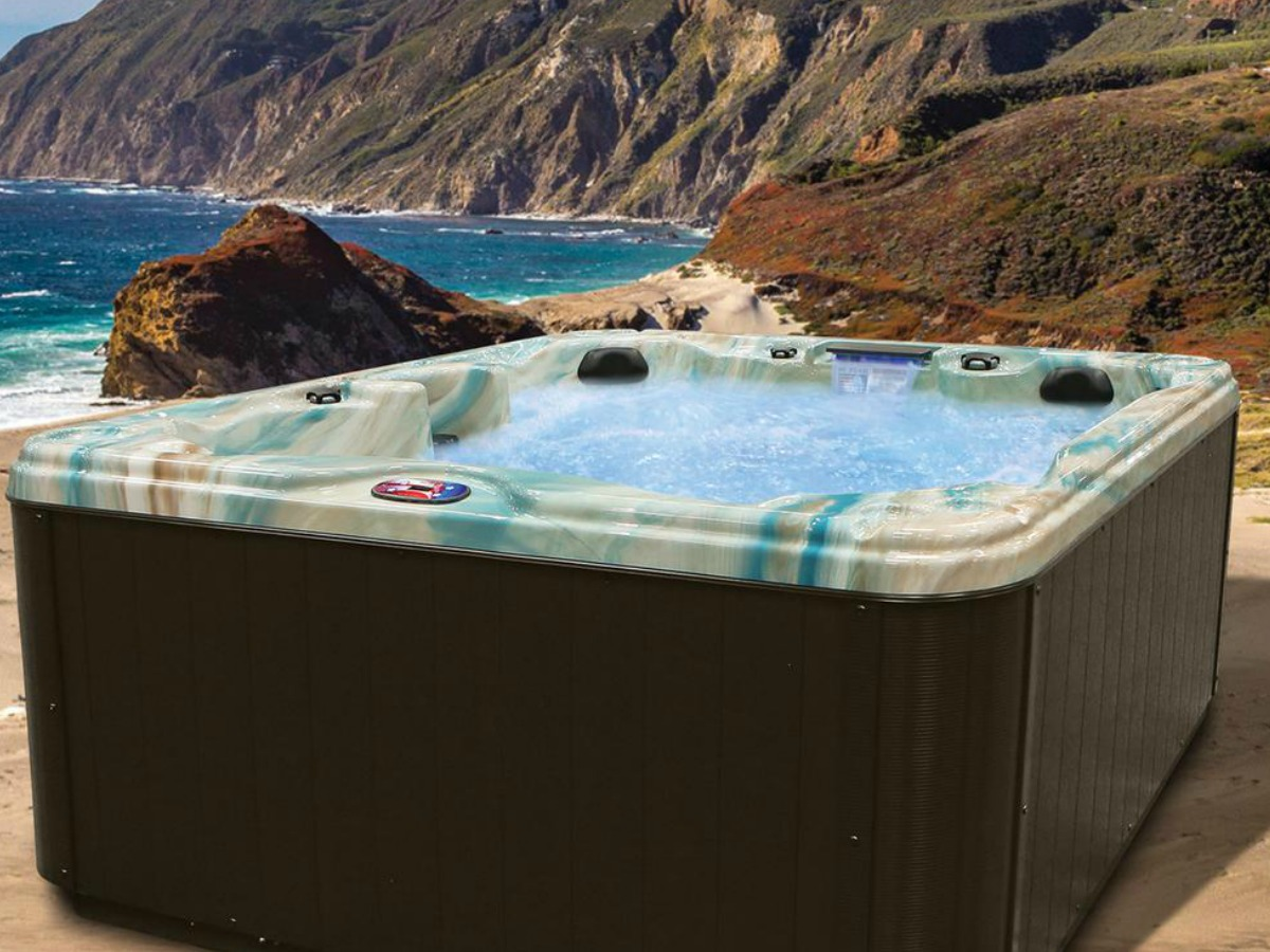 filled hot tub with blue detail