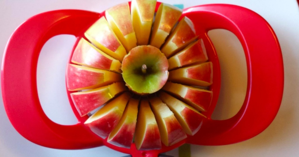 Apple slicer and Corer with an apple sliced