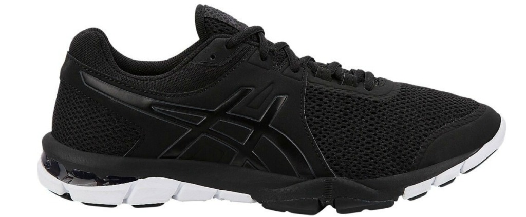 black asics shoes with white sole
