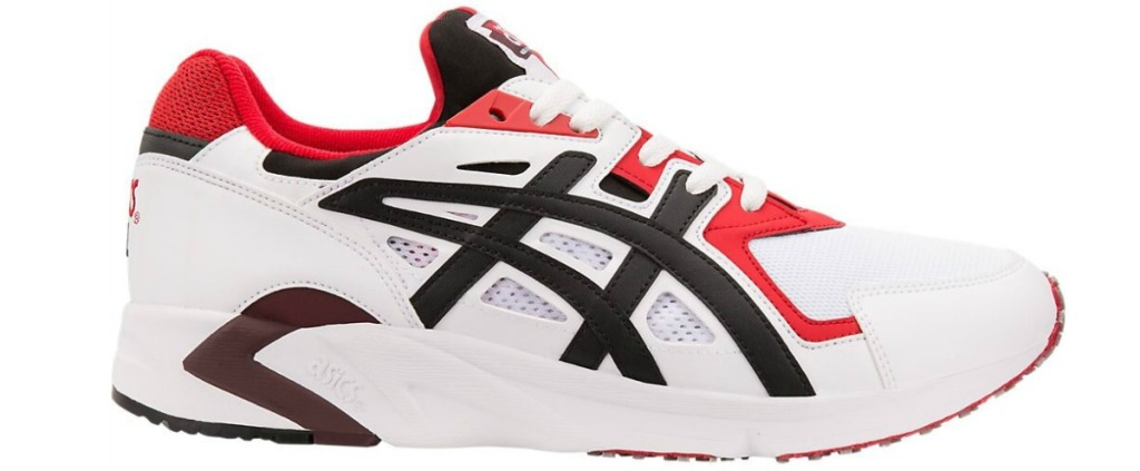 white, black, red, and maroon asics shoes