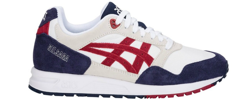 asics red white and blue shoes