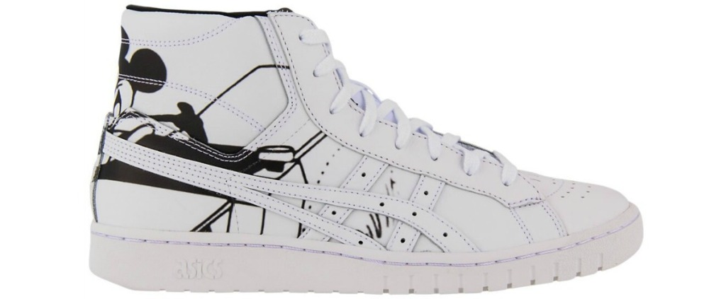 hi-top white asics with Disney character on back of shoe