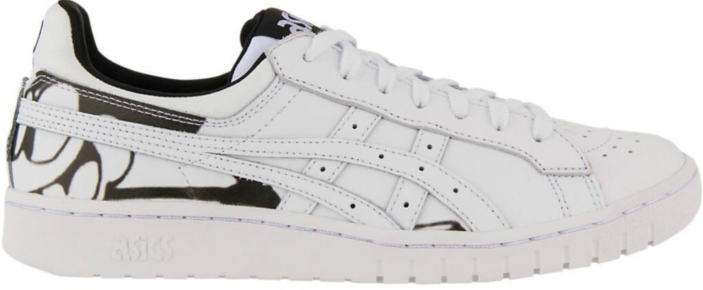 white asics with Disney character on back of shoe