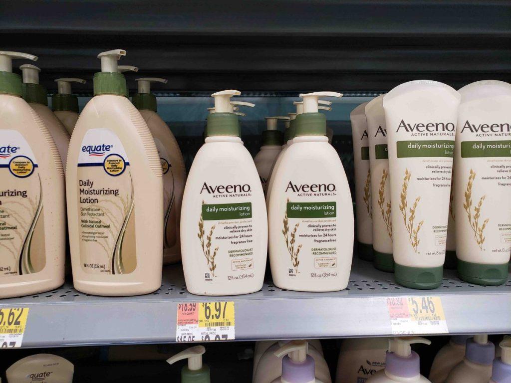 Aveeno lotion sitting on a shelf