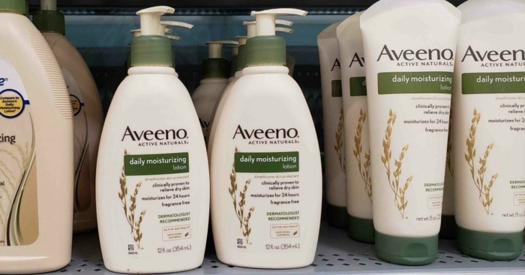 bottle of popular brand lotion sitting on a shelf in a store