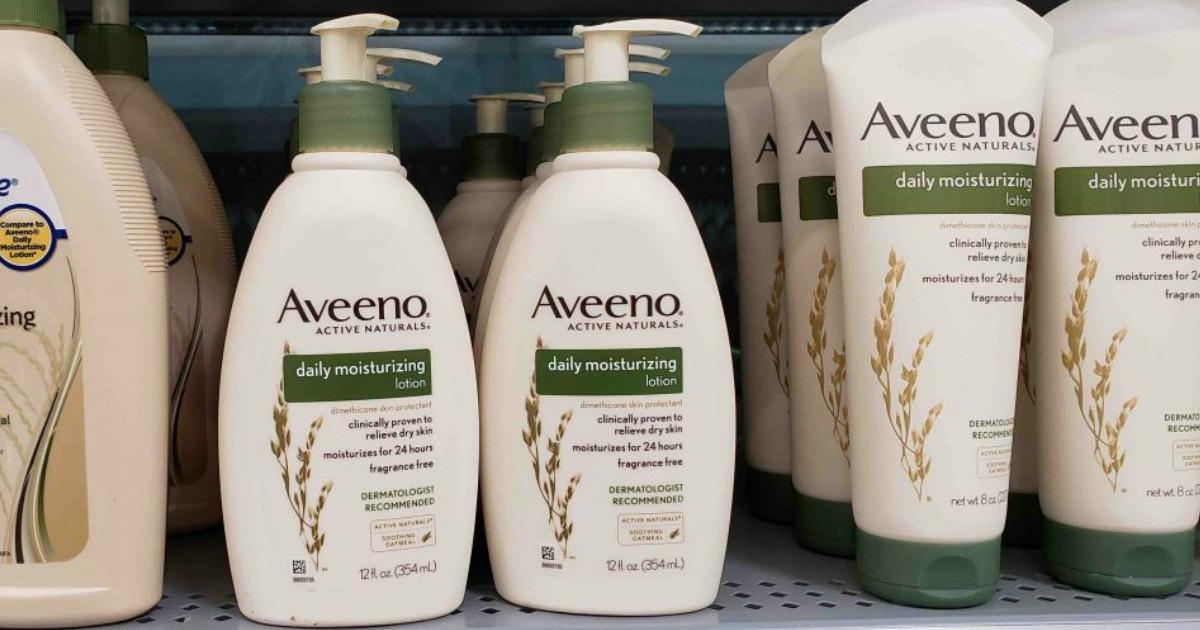 aveeno lotions on a store shelf