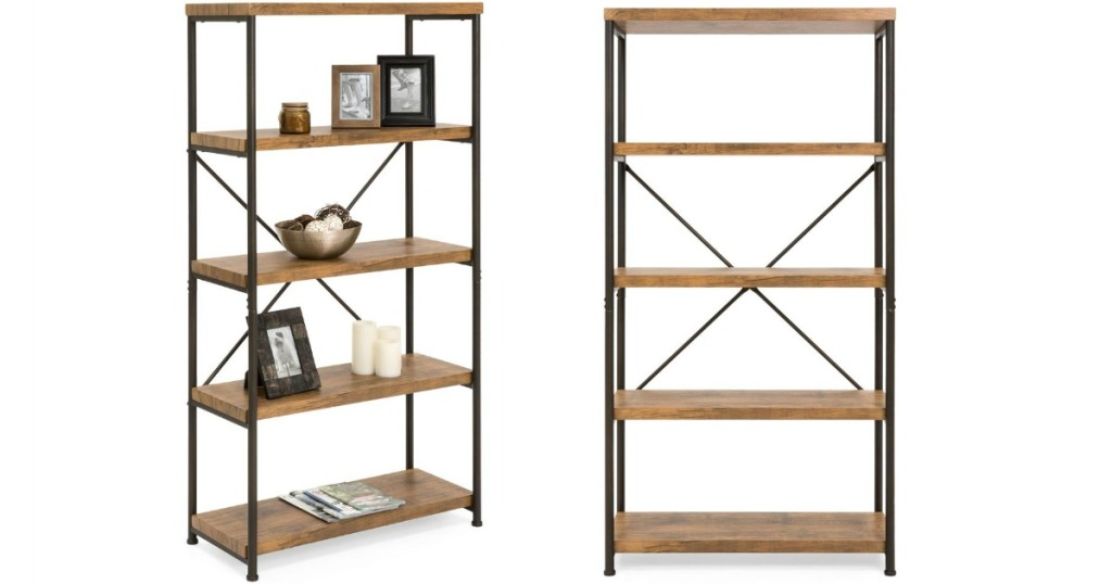 best choice products wooden and metal bookshelf