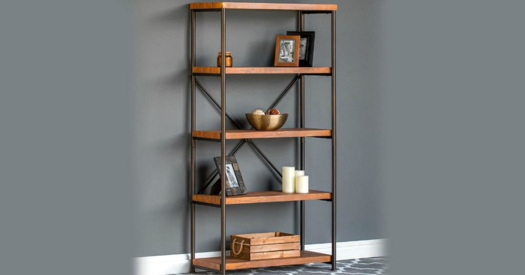 4 tier metal and wooden best choice products bookshelf