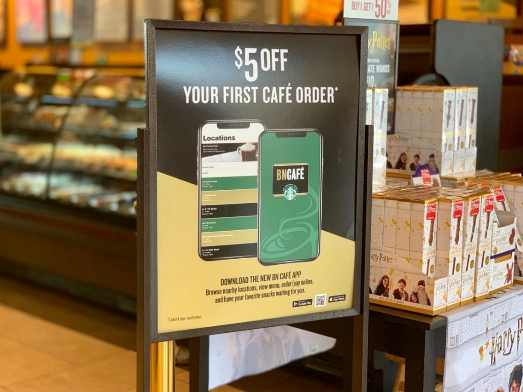 Sign for $5 off coffee at Barnes & Noble Cafe