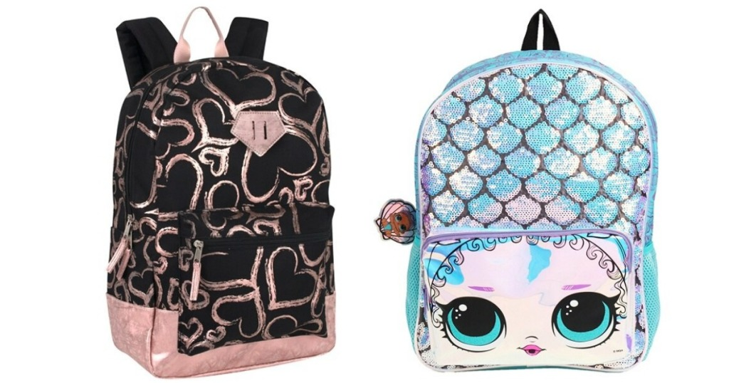 black backpack with hearts on it and a LOL Surprise backpack
