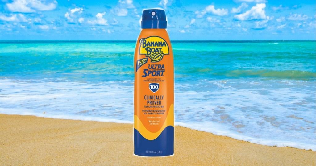 Banana Boat sunscreen on a beach