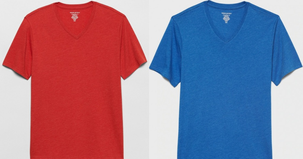 Banana Republic Men's Tee in red and blue