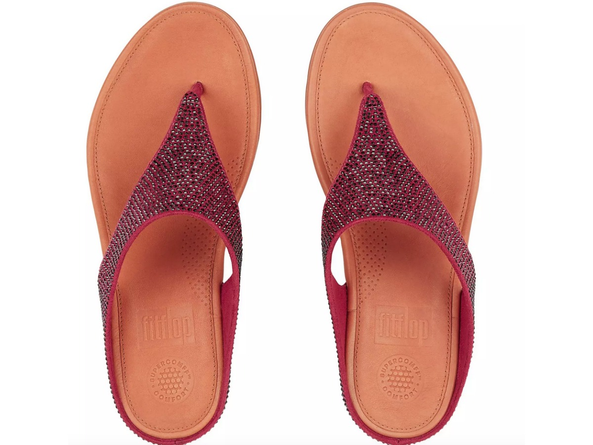 glitzy toe thong sandals in reddish-brown color as seen from above