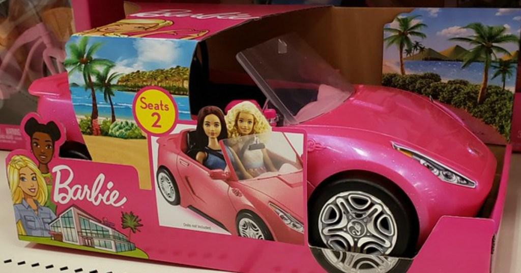 Barbie convertible on shelf