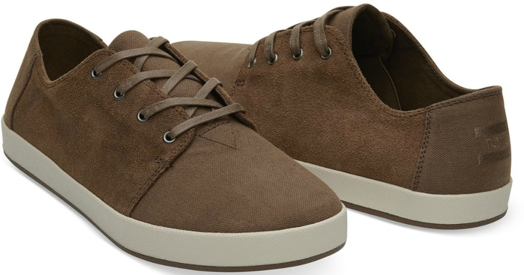 bark brown oiled suede cotton twill sneakers side by side