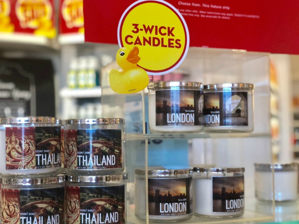 bath body works candles on display shelves