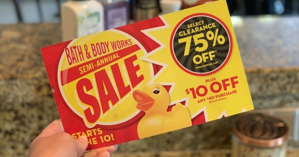 holding Bath & Body works coupon