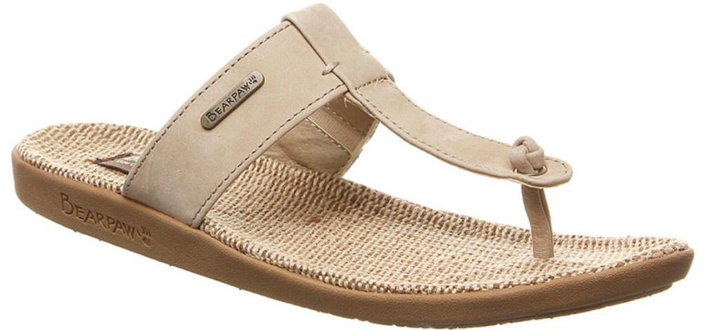 Bearpaw Ecru Women's Sandals with beige t-strap