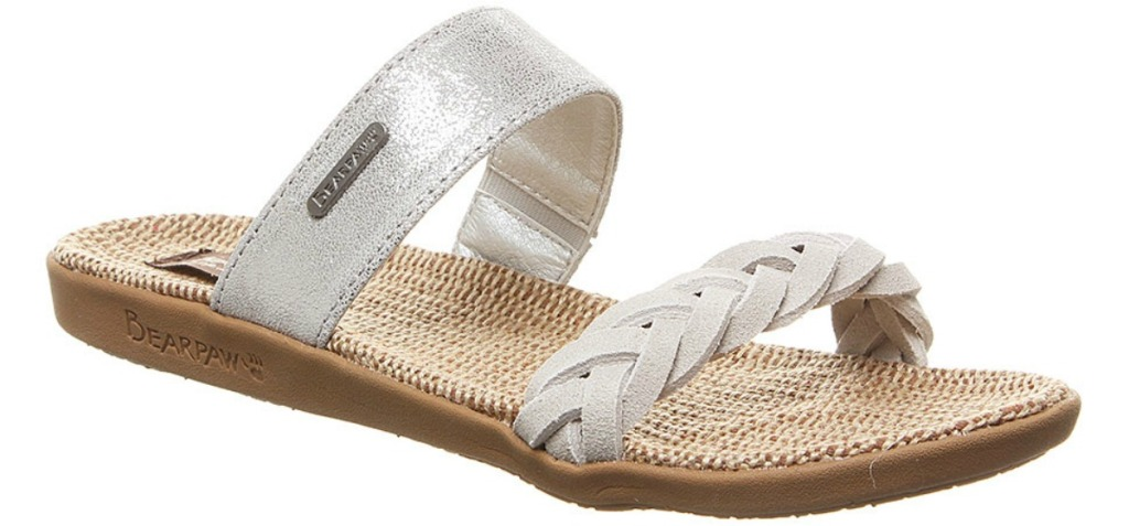 bearpaw Women's sandal with linen sole, silver strap and braided front strap