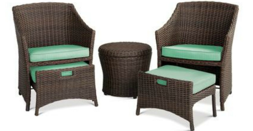 brown wicker and seafoam chat set with chairs and table