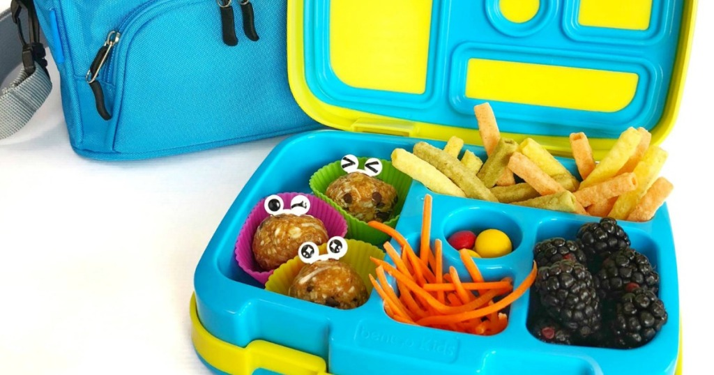 kids lunch box with berries and veggie fries