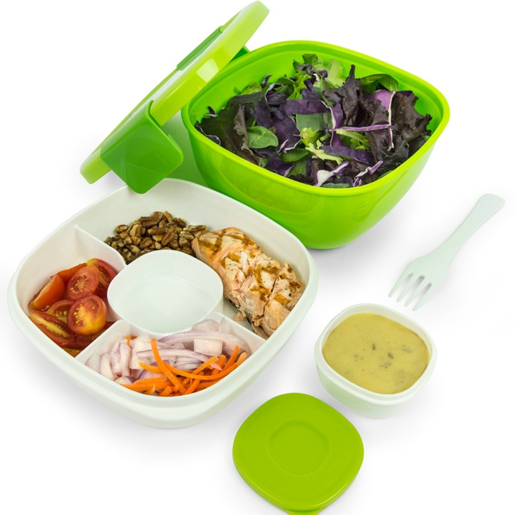 green colored Bentgo Salad Lunch Container with salad items in compartments