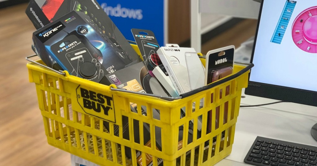 yellow Best Buy basket with electronics inside