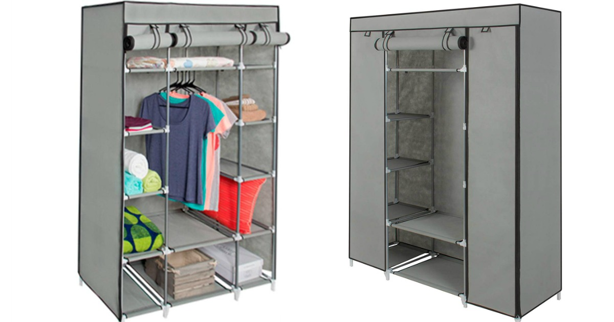 Best Choice Products Closet shown empty and with clothes
