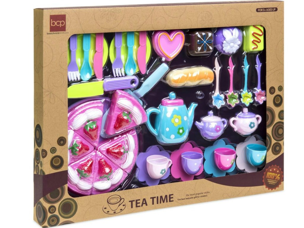cardboard box containing brightly colored tea party set