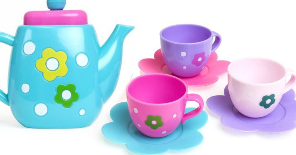 blue tea kettle with brightly colored cups