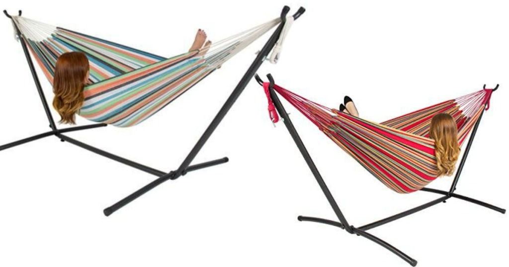 two striped hammocks with a girl lounging in each