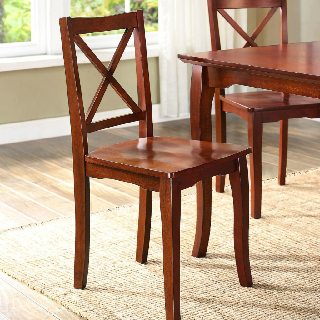 wood Better Homes and Garden chairs in a dining room