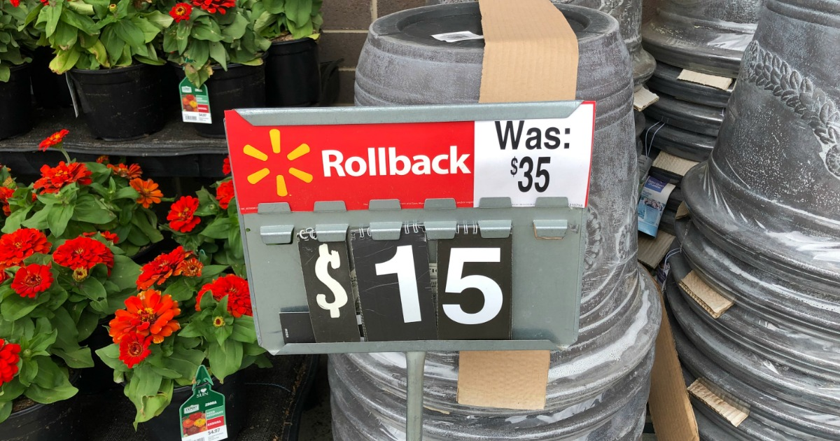 Display of Better Homes & Gardens Resin Planters on rollback at Walmart