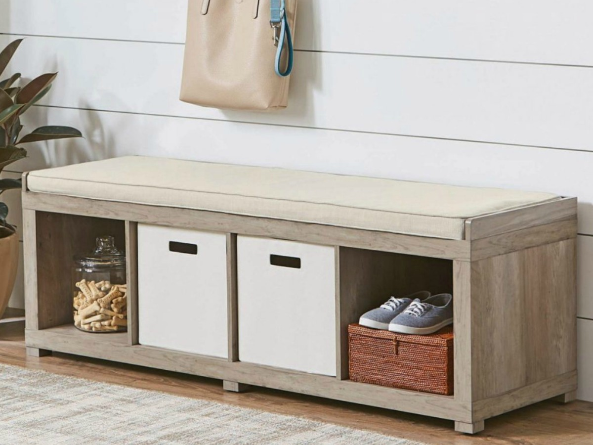 white storage bench with cushion in living room