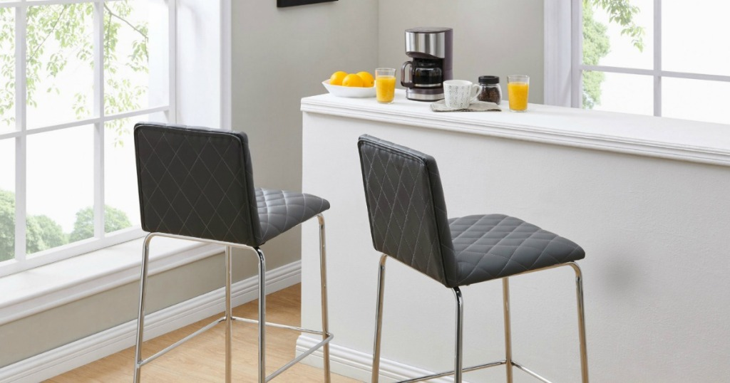 Black better homes and gardens upholstered counter stools