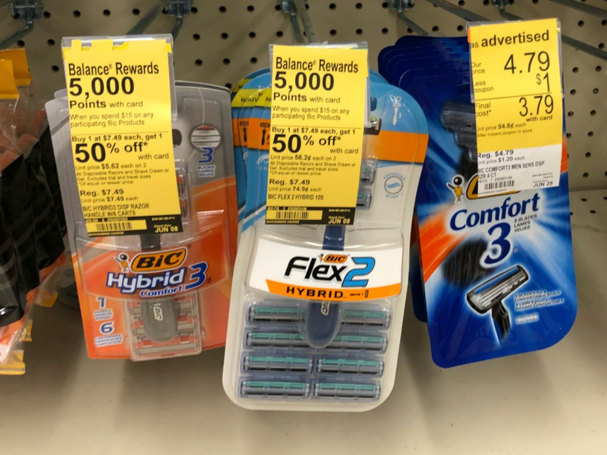 bic razors hanging on hooks at Walgreens with Balance Rewards promotional stickers