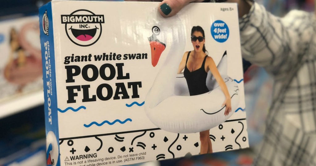 woman holding Big Mouth Inc. Swan Pool Float