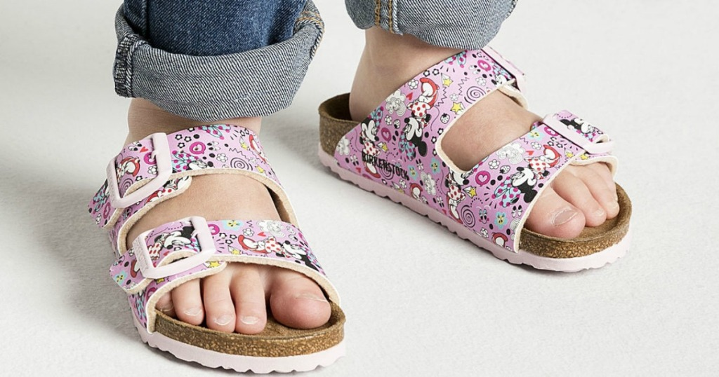 Girl wearing Minnie Mouse Birkenstock Sandals
