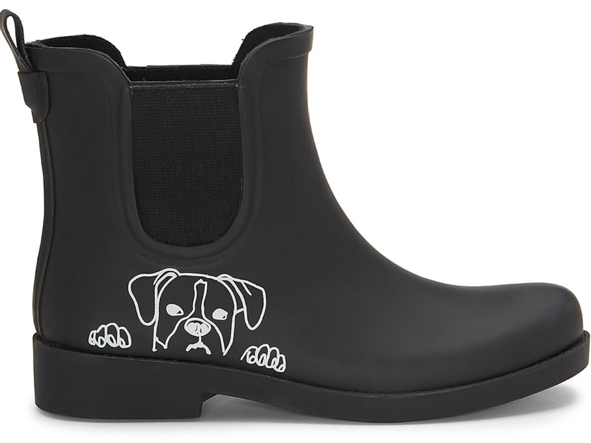 black rubber boots with white outline of dog