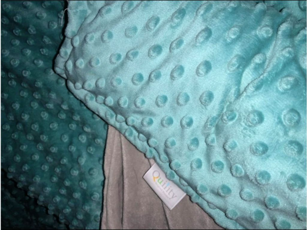 teal and grey cotton and minky weighted blanket