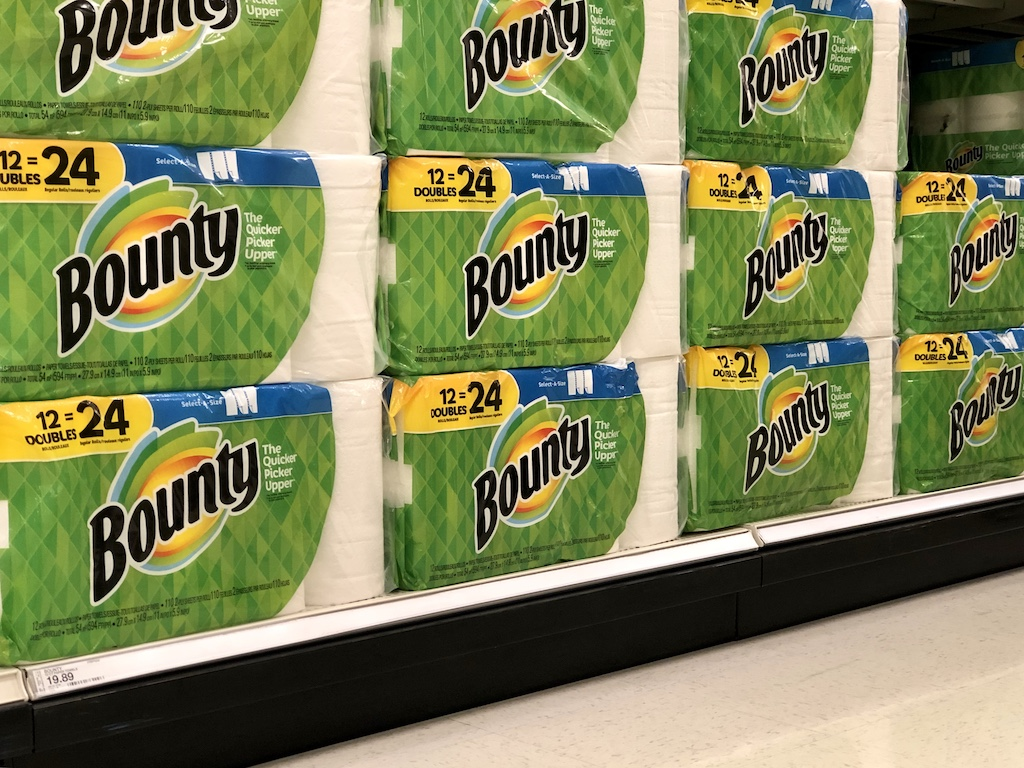 Bounty Paper Towels 12ct Double Rolls in the aisle at Target