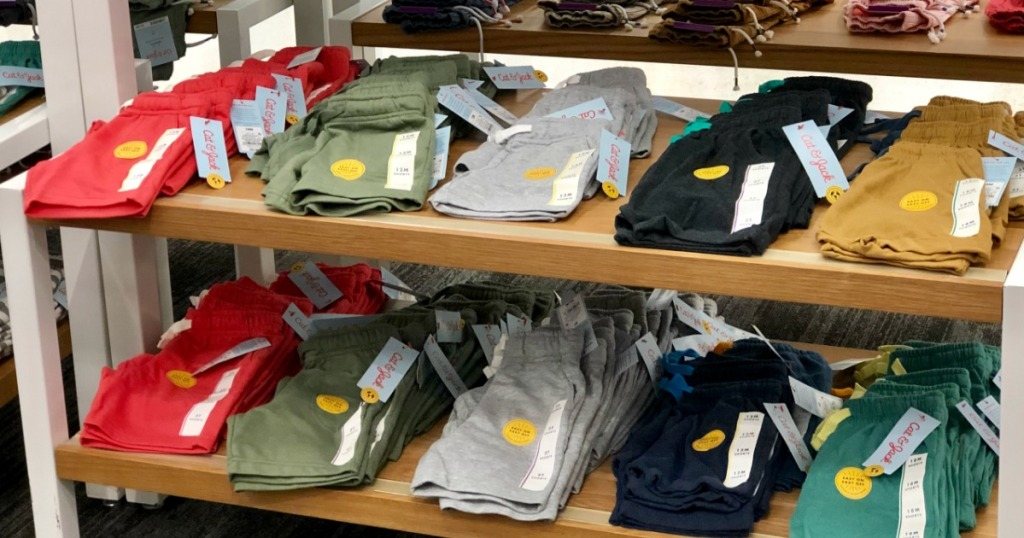 boys knit shorts folded on display shelf