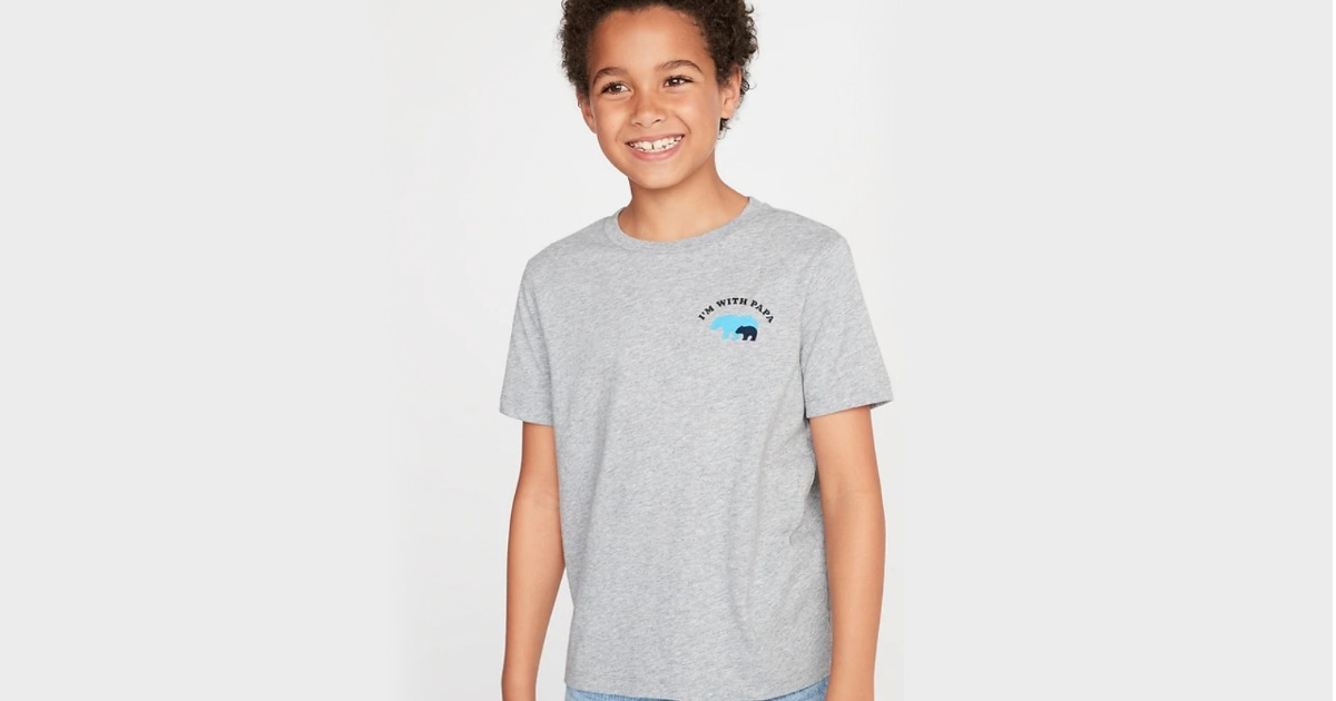 boy wearing gray papa bear shirt