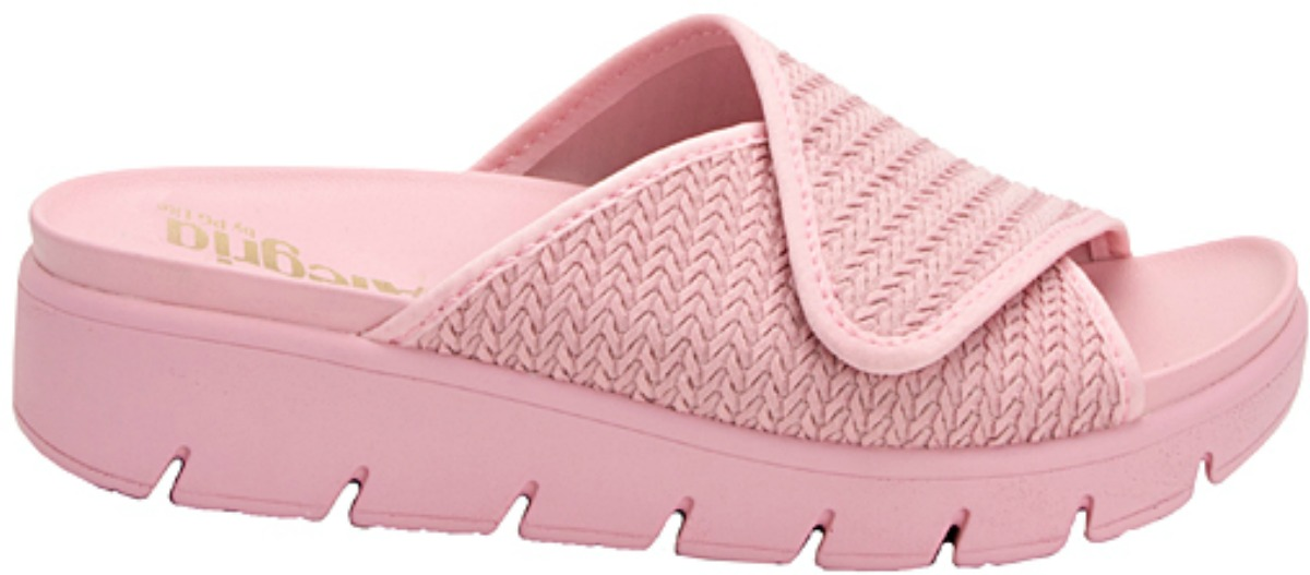 pink sandal with braided texture