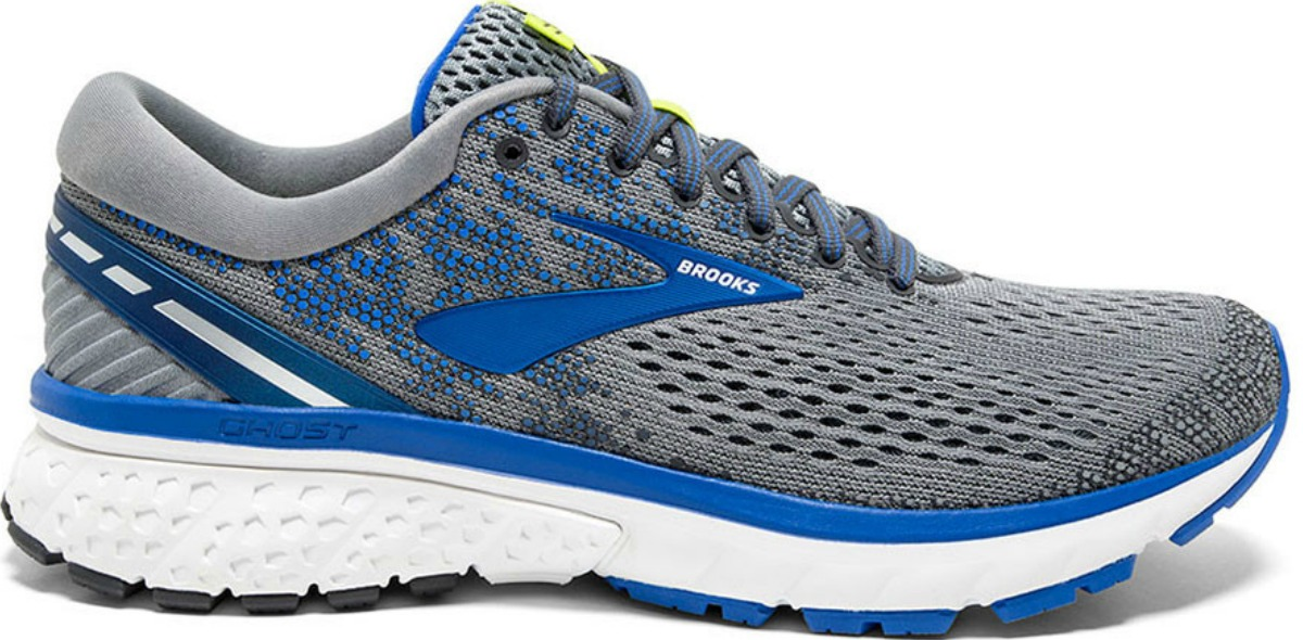 men's gray Brooks Running shoes with blue accents