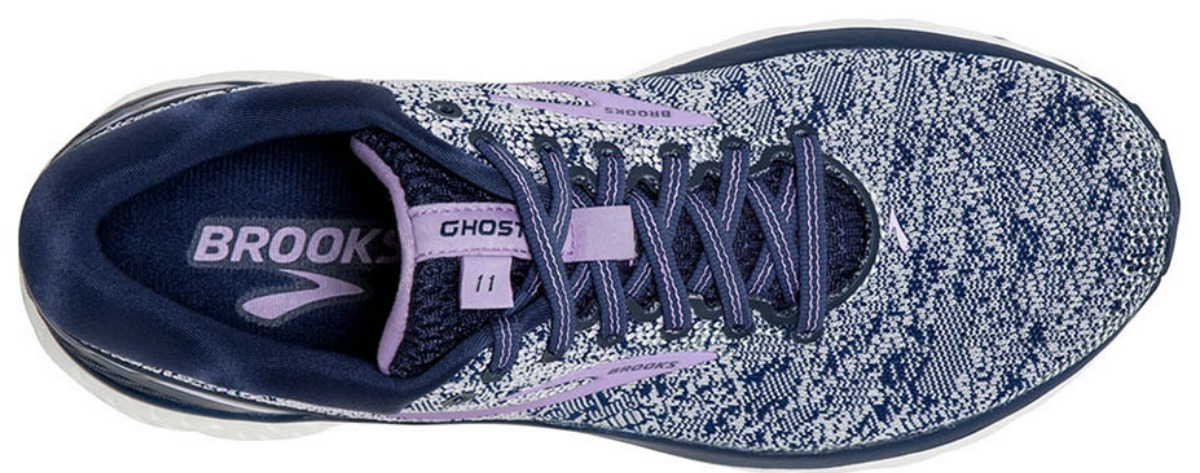 blue and white speckled Brooks running shoes viewed from the top